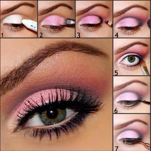 Pembe tonlarında gölgeli göz makyajı nasıl yaplır?